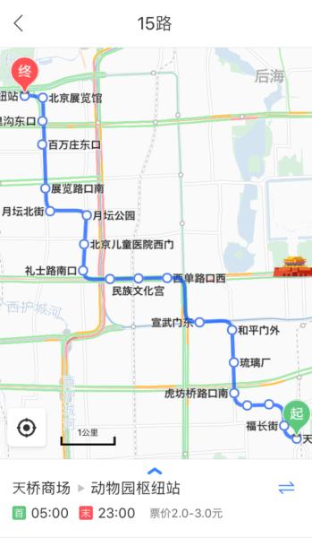 百度地図のバス路線図の地図部分