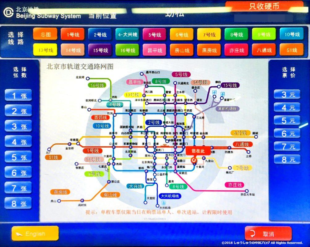 北京の地下鉄の券売機その1
