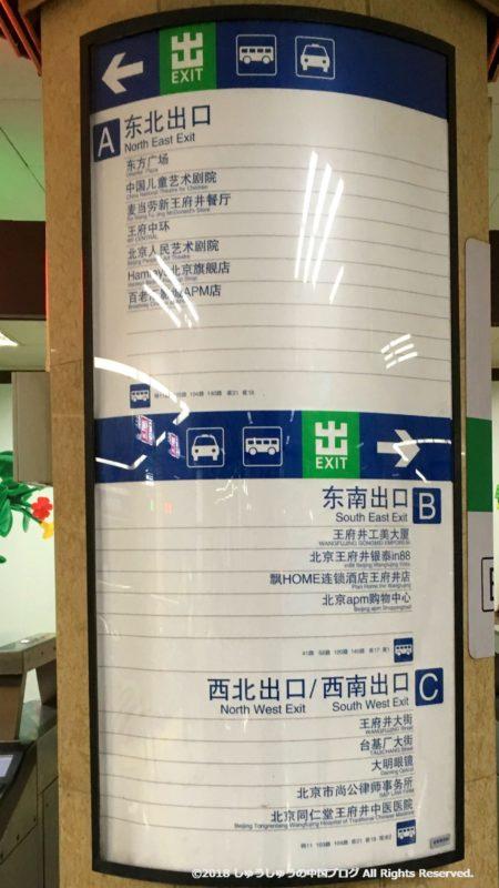 北京の地下鉄の出口案内