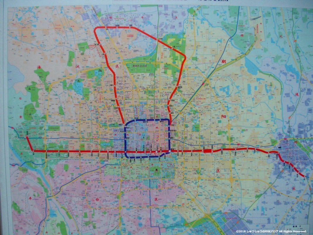 2004年の北京の地下鉄路線図