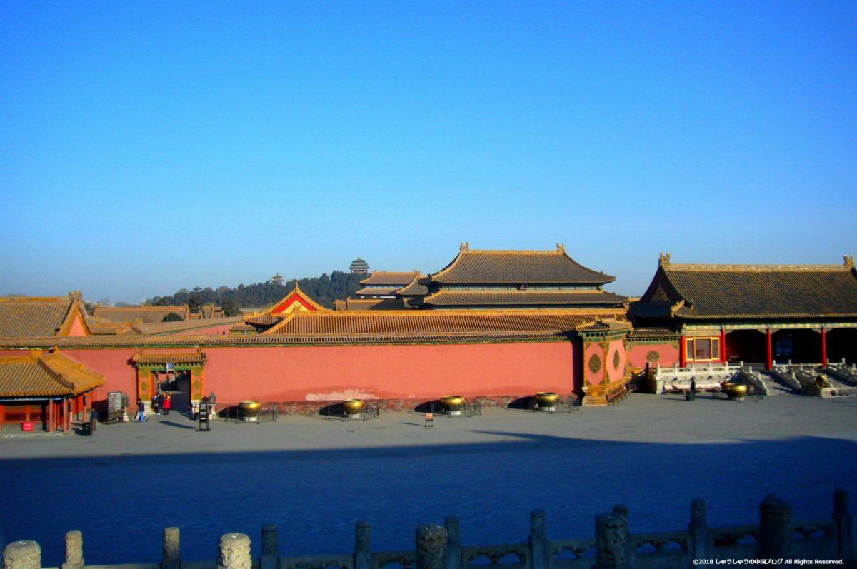 北京の故宮から見える景山公園