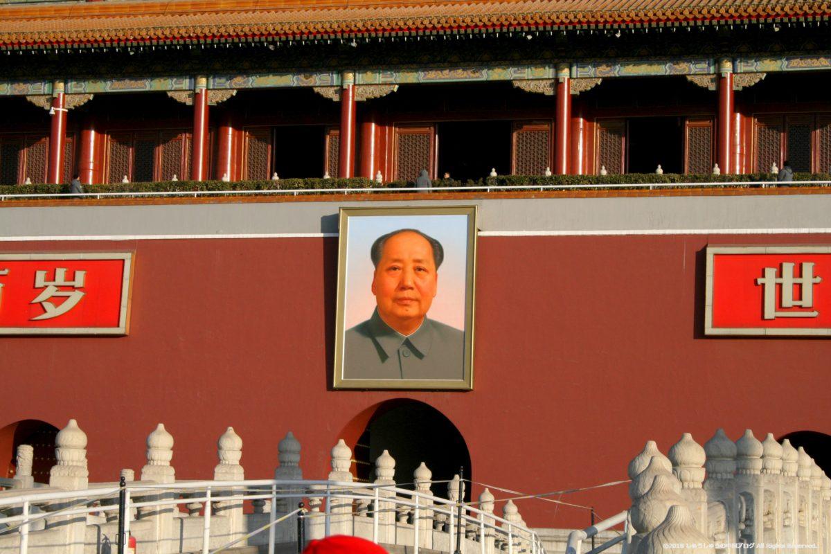 天安門広場の毛沢東主席の肖像画