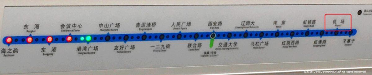 大連地下鉄の車内案内板