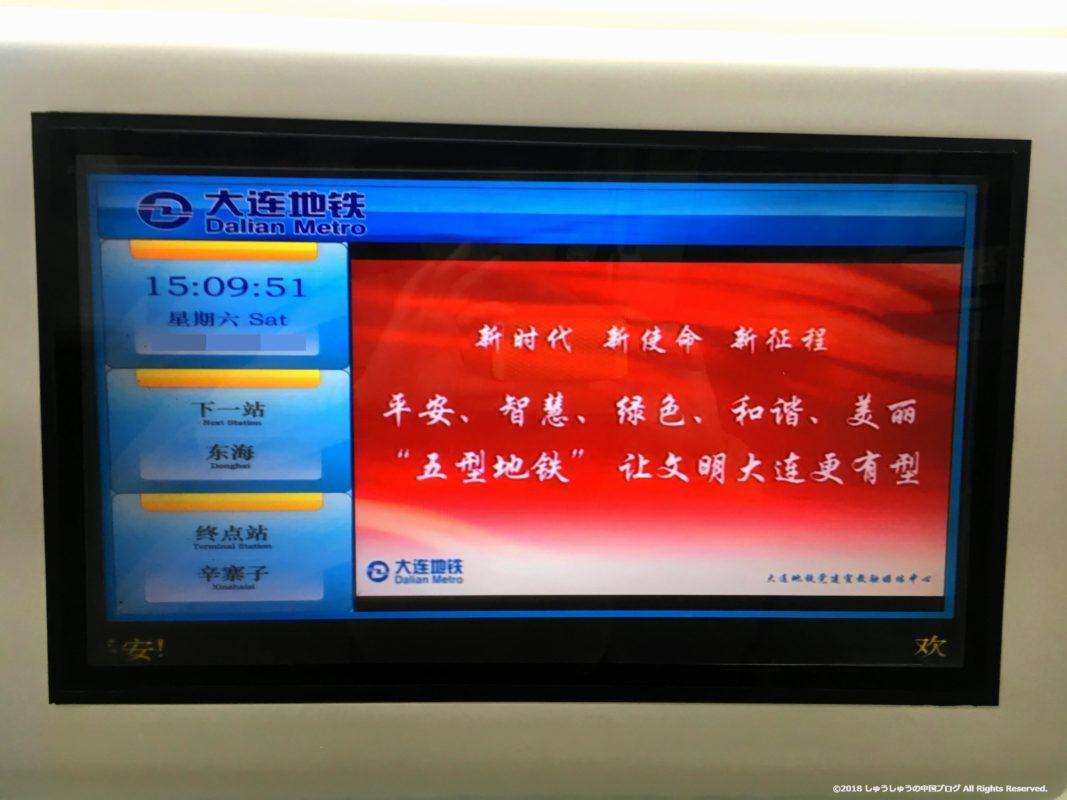 大連地下鉄車両内のテレビ