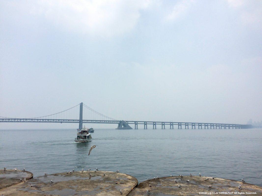 大連の星海広場から見える星海湾大橋