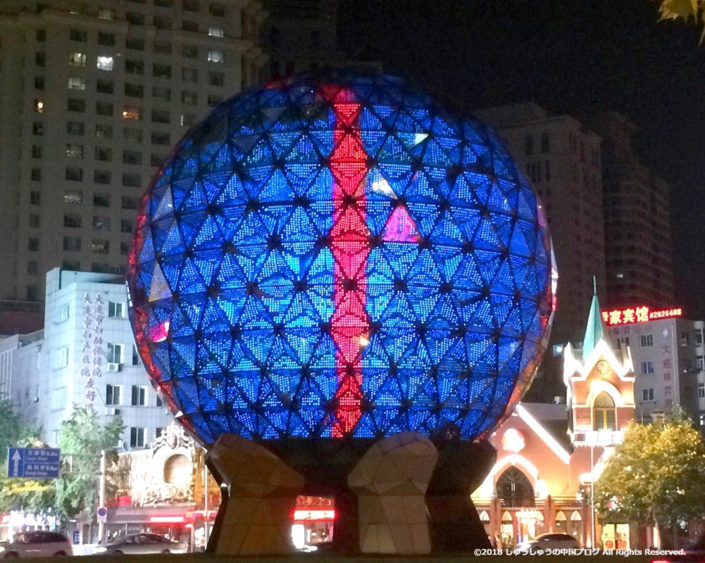 大連友好広場の夜のライトアップ2