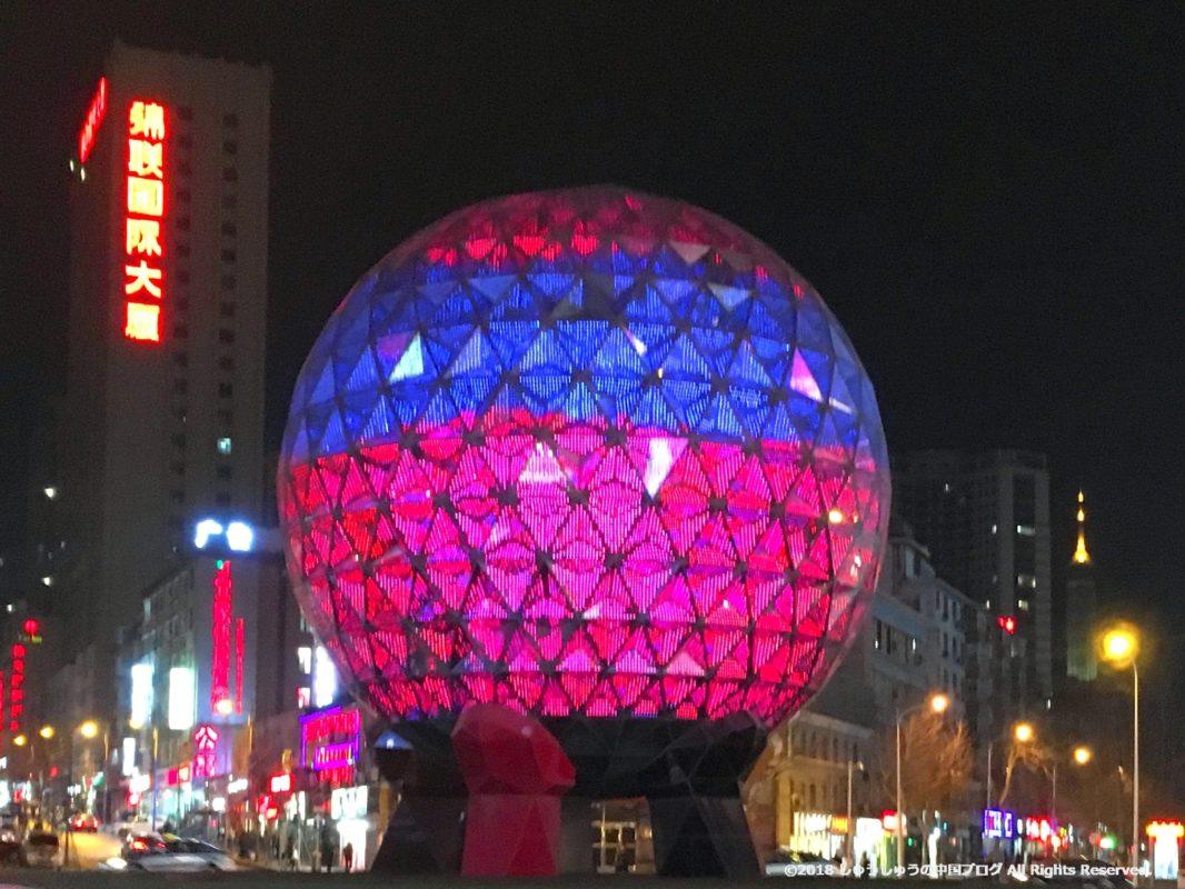 大連友好広場の夜のライトアップ3