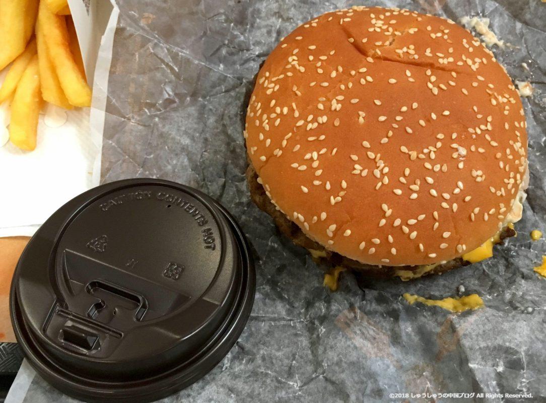 中国のバーガーキングのハンバーガーの大きさ