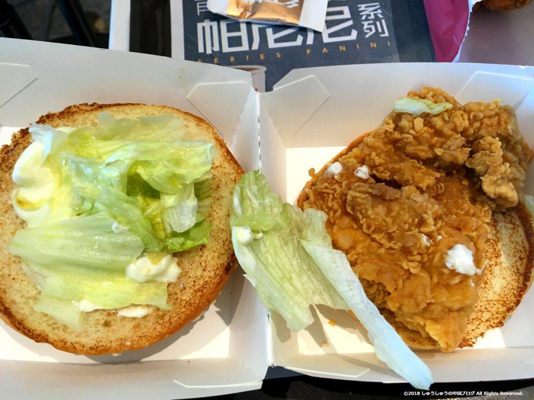 中国のケンタッキーの香辣鸡腿堡を分解