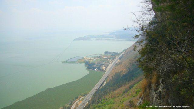 西山から見る滇池