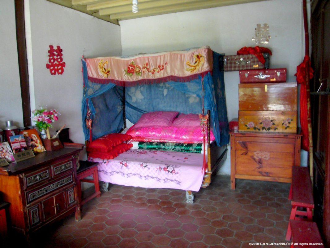 雲南民族村の白族の住居の寝室