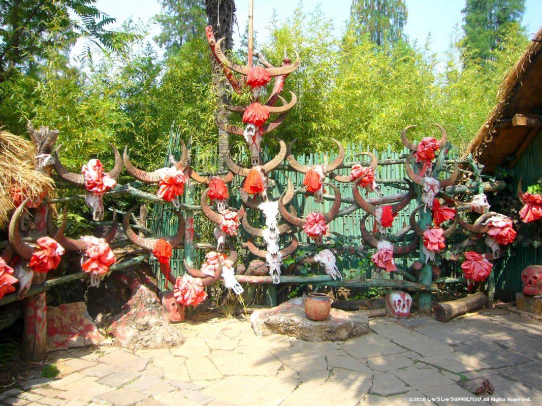 雲南民族村の佤族(ワ族)の首狩り
