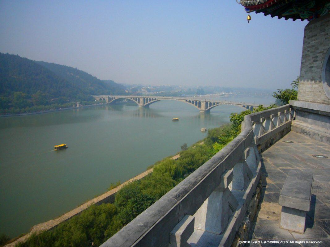 洛陽龍門石窟の香山寺からの伊河の景色その2