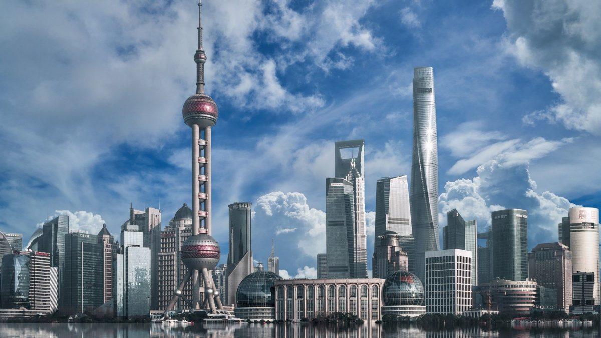 上海の外灘から見る陸家嘴の高層ビル群