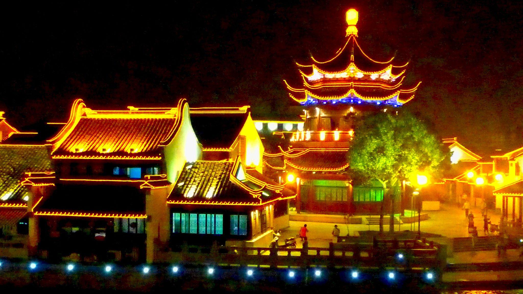 蘇州の七里山塘の夜景