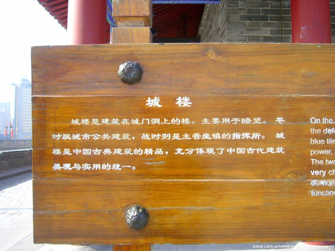 西安城壁の永寧門の城楼の説明文