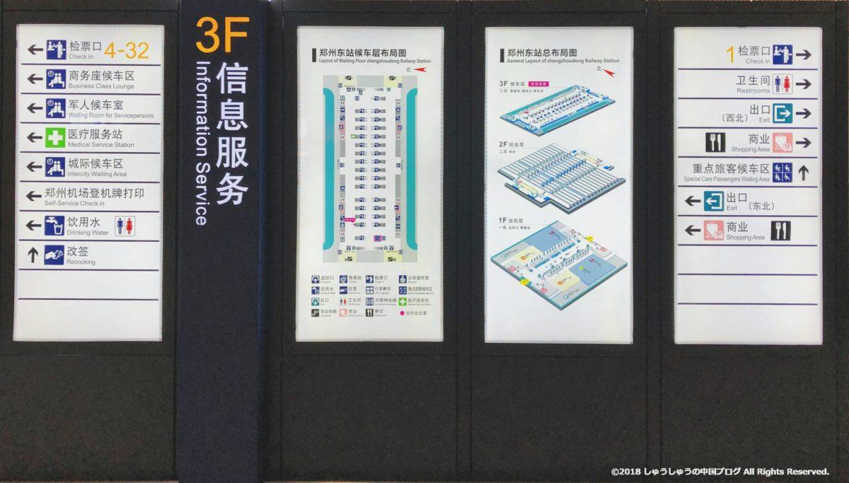 鄭州東駅の3Fの案内図